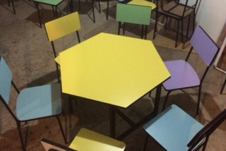 ชุดโต๊ะอนุบาล 6 เหลี่ยม