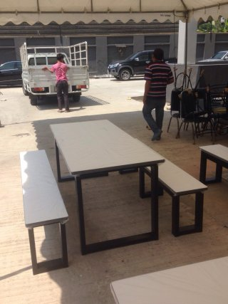 โต๊ะโรงอาหาร ขาโอ เหล็ก 1.5x3 นิ้ว