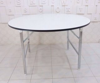 โต๊ะพับกลมหน้าโฟเมก้าขาว
