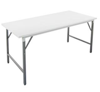 โต๊ะพับหน้าเหล็กอบสีขาว