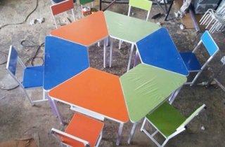 ชุดโต๊ะอนุบาล 6 เหลี่ยม ลามิเนตสีสัน
