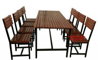 โต๊ะโรงอาหารไม้เต็ง เหล็ก 1.3 นิ้ว