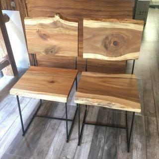 เก้าอี้เหล็กติดไม้จริง