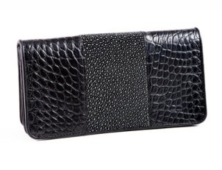 black leather purse with sea snake