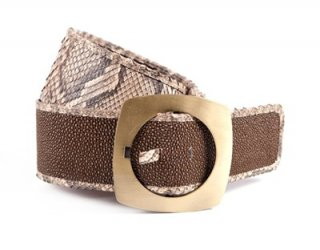 Snake Leather Belt with Gold Buckle